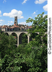 Fribourg Switzerland - Photo of the bridge and church tower...