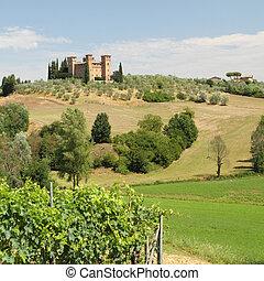 Castle in Tuscany - Castle Quattro Torri in beautiful summer...