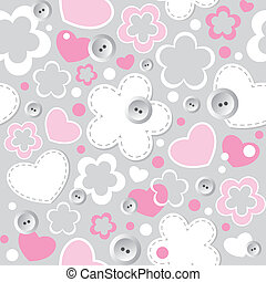 cute seamless pattern with hearts, flowers and sewing...
