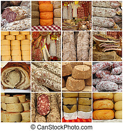 Italian food collage - collage with traditional typical...