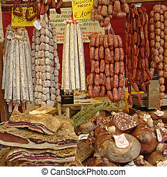 made in Italy, delicious italian sausages on tuscan market...
