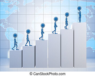 3D business men climbing a graph with one confident business man on top