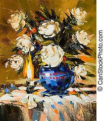 Bouquet of white flowers in dark blue vase