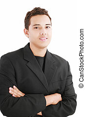 Young smiling latin man looking at camera isolated on white...