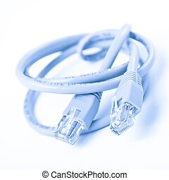 network cable and patch on white background