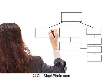 Young businesswoman drawing a diagram isolated on white...