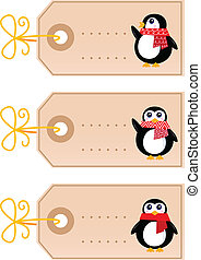 Cute christmas Penguin tags isolated on white ( retro )