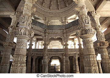 Ranakpur Jain Temple - a temple hall of the Jain Temple in...