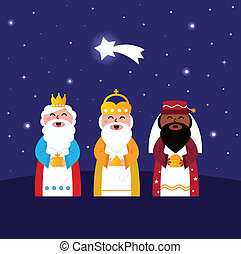 Three wise men bringing gifts to Christ night scene -...