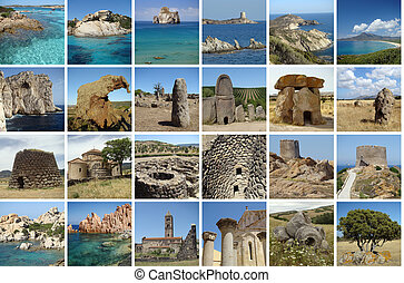 Sardinia collage - collage with touristic attractions of...