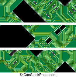 High technology background, computer circuit board - vector...