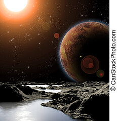 Abstract image of a planet with water Find new sources and...