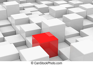 Red cube among white cubes of different height. Unique...