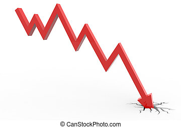 Red arrow breaking floor. Concept of  bankruptcy, financial collapse, depression, failure, money crisis. Computer generated image.