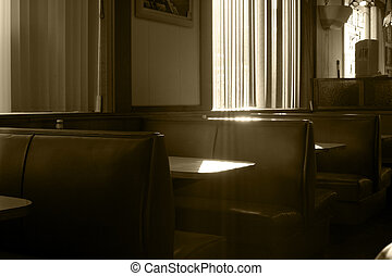 Restaurant Booths With Streaming Sunlight in Sepia - View of...