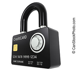 Secure online payment - Credit Card made like a Padlock,...