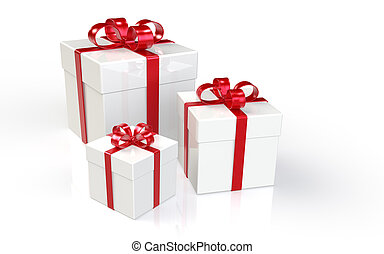 Gift Boxes - Set of 3 Gift Boxes Red Ribbons