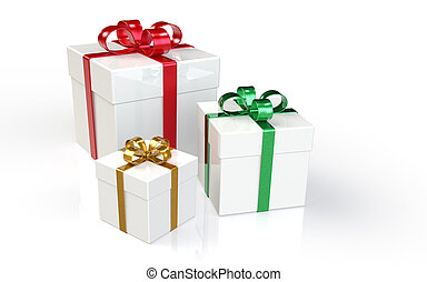 Gift Boxes - Set of 3 Gift Boxes Red, Green and Gold Ribbons...