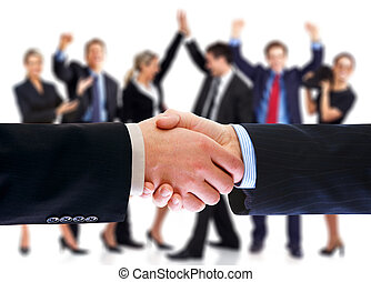 Business people handshake - Business people handshake and...