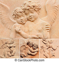 angelic collage - collage with angelic reliefs in terracotta...