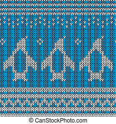 Blue knitted Background with penguins. Vector illustration....