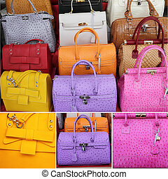 handbags collection - collage with colorful leather handbags...