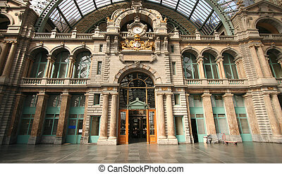 Antwerp Central Station - Interior of Antwerp Central...
