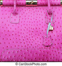 pink ostrich handbag - luxury handbag, Italy