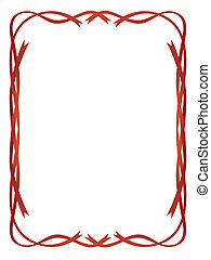 frame red ribbons pattern isolated