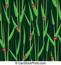 grass ladybird seamless background