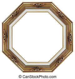 Octagonal picture frame - Octagonal picture gold frame with...