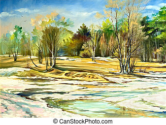 Spring landscape with trees and a snow