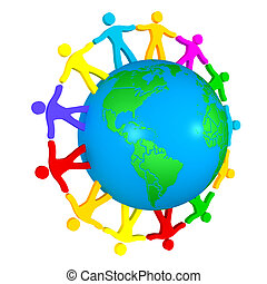 people around the globe illustrating union of different...