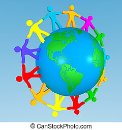 people around the globe illustrating union of differences