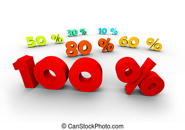 percentage tags in 3d isolated on white background
