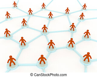 network concept - 3d network concept with people
