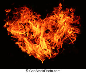 flaming heart - heart shape constructed from flames