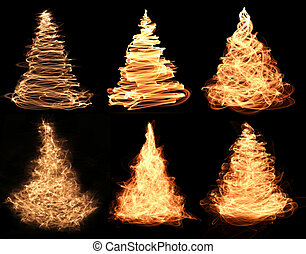 christmas trees - collection of abstract fiery christmas...