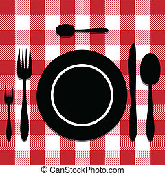 Cutlery set - Illustration of silhouette cutlery on the...
