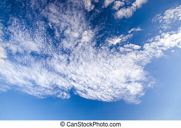 Cumulus clouds being in the sky and occupying a shot part