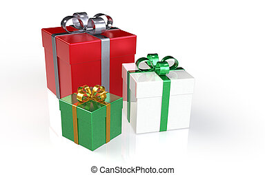 Christmas Presents - Set of 3 Christmas Presents. Silver,...