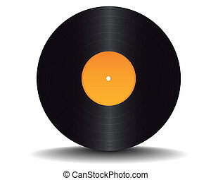 black vinyl record on white background
