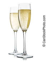 Two glasses of champagne Isolated on white - Two glasses of...