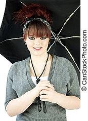 teenage girl with umbrella