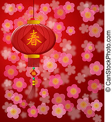 Chinese New Year Lantern with Cherry Blossom Red Background