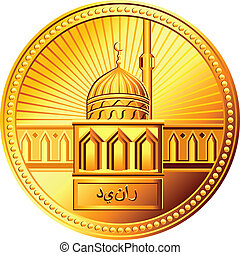 vector Arab gold dinar coin with the image of the mosque -...