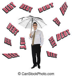 Debt word and business man with umbrella