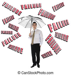 Failure word and business man with umbrella