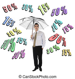 Discount word and business man with umbrella