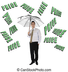 Price word and business man with umbrella